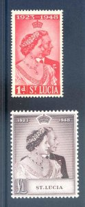 St Lucia 1948 Silver Wedding SG144/5 Mounted Mint