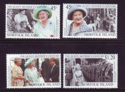 Norfolk Island Sc 688-91 1999 Queen Mother stamp set mint NH