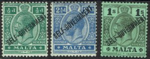 MALTA 1922 KGV SELF GOVERNMENT 1/2D 21/2D AND 1/- WMK MULTI CROWN CA