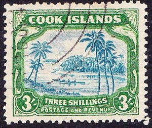 COOK ISLANDS 1938 3/- Greenish Blue & Green SG127 FU