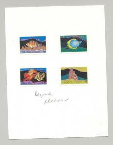 Grenada #1333-1337 Fish, Coral, Birds 4v & 1v S/S Imperf Proofs on 2 Cards