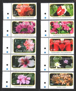 Cook Islands. 2010. 1618-29 from the series. Flowers, flora. MNH.