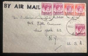 1948 Turquand Young McAuliffe Co Penang Malaya Airmail Cover To New York USA