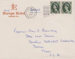 Great Britain 9d QEII Wilding (2) 1968 London. W.I., C Airmail to Dallas, Tex...