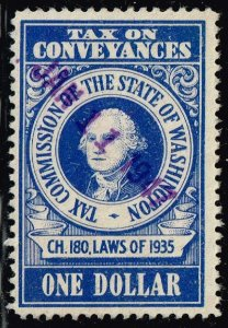US TAX STAMP STATE OF WASHINGTON ONE DOLLAR BLUE CONVEYANCES TAX PAID STAMP