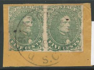 CSA Scott #1 Stone 2 Used Pair of Confederate Stamps on Piece Darlington CH, SC