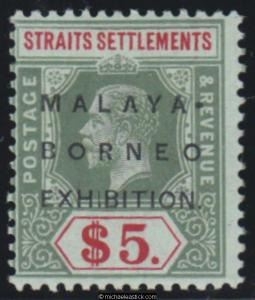 1922 Straits Settlements $5 Green & Red on Blue Green SG 249 MH
