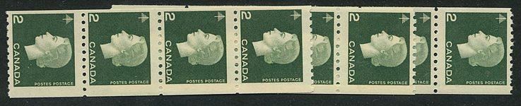 Canada #406 Mint 2c Cameo Coils (16) in Strips of Four or More - F-NH