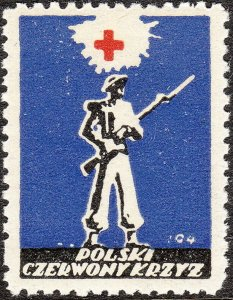 Stamp Label Poland WW2 Poster Cinderella Red Cross Czerwony Victory Soldier MNH
