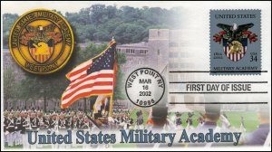 AO-3560, 2002, U.S. Military Academy, First Day Cover, Add-on Cachet, SC 3560,