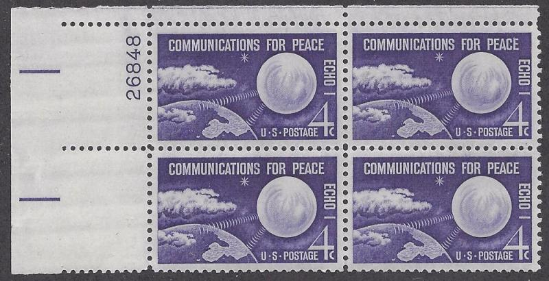 1173 Plate block 4cent Space NASA Echo 1 Communication Peace