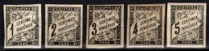 French Colonies #J1-5  Unused CV $23.25 (X157)