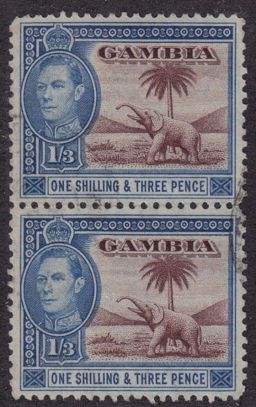 GAMBIA Used Scott # 138A Elephant - pair (2 Stamps) -1