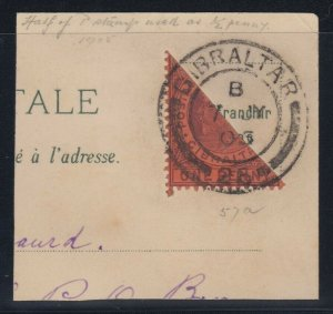 Gibraltar, Scott 50a (SG 57a), BISECT tied on post card piece (7 JY 05)