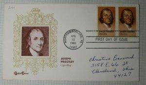 US FDC Sc# 2038 Joseph Priestly Tudor House Cachet Northumberland PA 1983