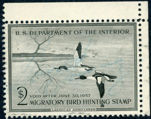#RW23 – 1956 $2.00 American Merganser.  Used.