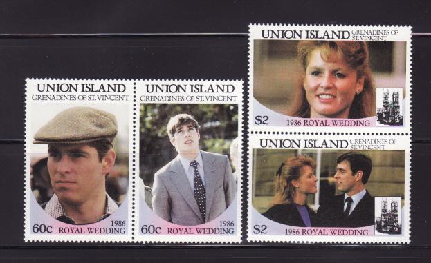 St. Vincent Union Island MNH 228-9 Pairs Royal Wedding Prince Andrew & Sarah