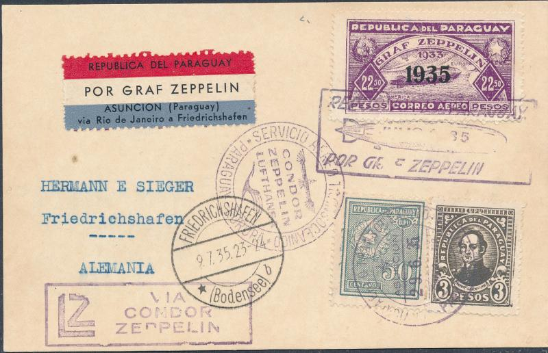 1932 Paraguay Graf Zeppelin Postcard Cover to Germany LZ 127 Hermann Sieger