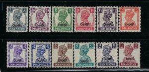 INDIA-CHAMBA- SCOTT #89-100 1942-44 OVERPRINTS MINT LIGHT HINGED