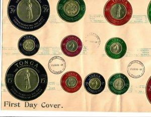 Tonga 2 covers 9 X 14 F.D.C. Gold Coins 2 sets 1963 Nukualofa, 1964 PPSEAWA