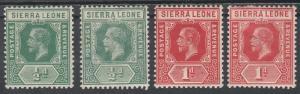 SIERRA LEONE 1912 KGV 1/2D AND 1D - 2 SHADES OF EACH WMK MULTI CROWN CA