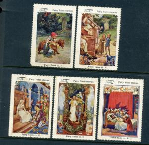 Wentz Grimm Brothers Complete Set of 5 Large Cinderella POSTER STAMPS (Lot W6)