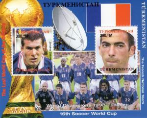 Turkmenistan 1998 YT# 24  World Cup French Team Zidane/Djorkaeff S/S Perf.MNH