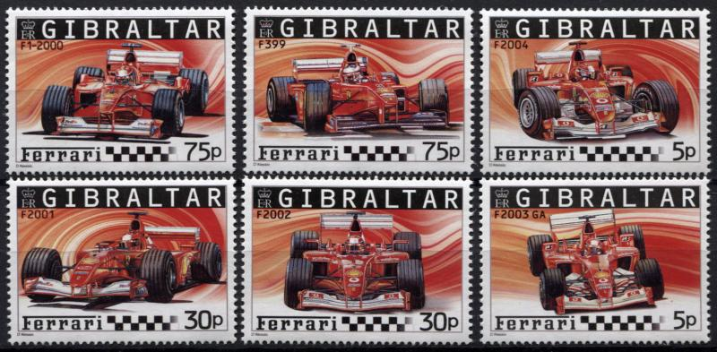 Gibraltar. 2004. Ferrari Formula 1 Cars  (MNH OG) set of 6 stamps