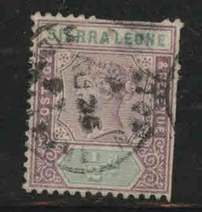 Sierra Leone Scott 34 Used Victoria stamp cut perfs