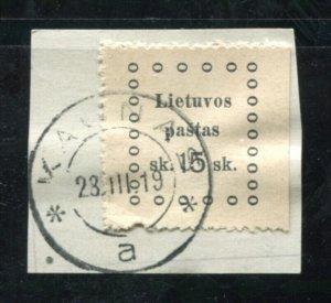 x364 - LITHUANIA 1910s REVENUE Stamp - Kaunas Cancel - 15 sk on piece