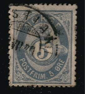 Norway 1877 Sc #24 F-VF Used Cat $15...Great Value!