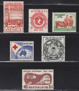 Australia Scott 262, 266, 270, 271, 275, 276 F to VF used.