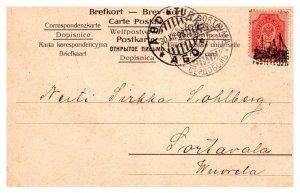 Finland 3k Coat of Arms 1908 Abo-Turku illustarted ship postmark Postcard to ...