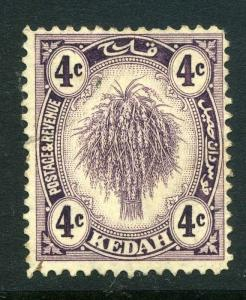 MALAYA KEDAH;  1922-40 early issue fine used 4c. value