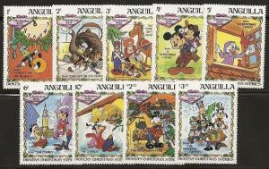 Anguilla 547-56 1983 Christmas Disney set and s.s.