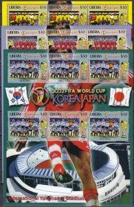 Liberia 2002 World Cup Souvenir Sheets All 28 (Z5894L)