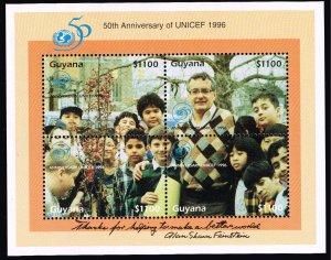 GUYANA #3027 MNH UNICEF 1996 SOUVENIR SHEET ERROR CV$70.00 INSCRIPTION