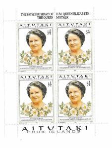 Aitutaki 1995 Queen Mother 95th Birthday Sheet MNH C2