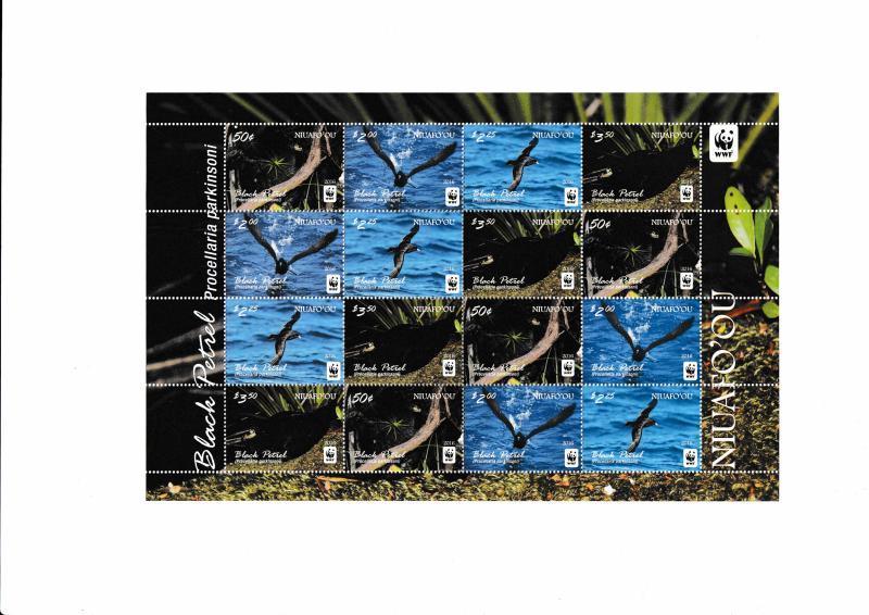 Tonga - Niuafo'ou - BIRDS - BLACK PETREL - WWF - Sheetlet MNH