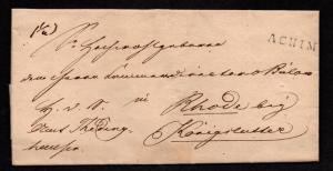 $German Stampless Cover, Achim to Rhode