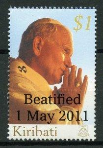 Kiribati 2011 MNH Pope John Paul II Beatification OVPT 1v Set Popes Stamps