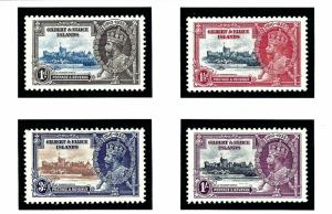 Gilbert and Ellice 33-36 MNH 1935 KGV Silver Jubilee