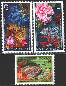Monaco. 1974. 1138-40. Corals, fish. MVLH.