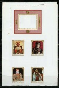 MANAMA NAPOLEON MEMORIAL SOUVENIR SHEET, BRITISH MONARCHS SET(12)  PROOFS IMPERF