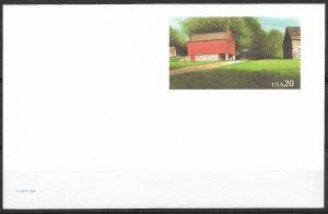 1995 USA UX198 Red Barn, williamsburg mint Postal card