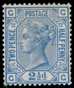 SG157, 2½d blue plate 22, M MINT. Cat £425. GG