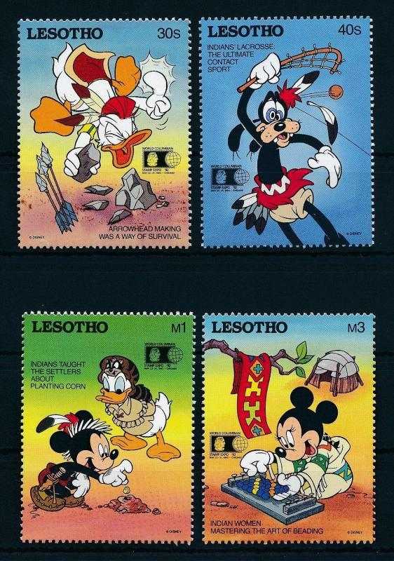[22317] Lesotho 1992 Disney Characters as Indians MNH