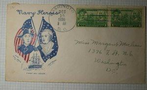 US FDC Sc# 790 Grimsland Cover Washington DC 1936 John Barry & John Paul Jones