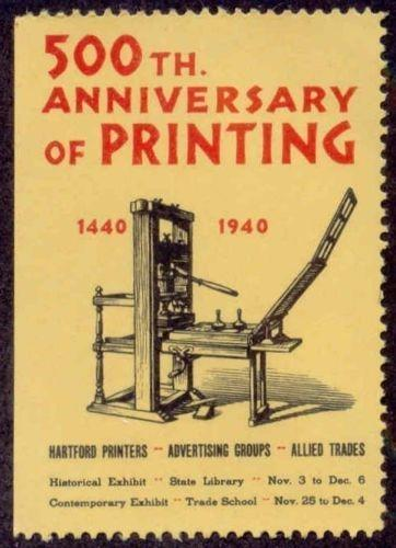 US 1940 500th Anniversary Printing Poster Stamp