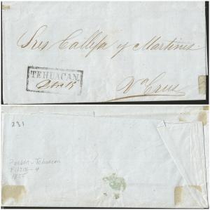 O) 1855 MEXICO, PREFILATELIC FROM TEHUACAN, XF